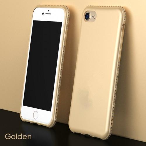 Golden MaxGear Rhinestone Silicone Case Glitter Matte Luxury Diamond Cover For iPhone