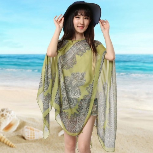 Summer Floral Print Beach Coverup Long Blouse