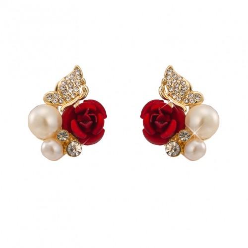 Red Rose Pearl Stud Earrings