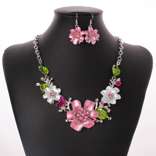 Pink & White Flowers Jewelry Necklace Set for Women