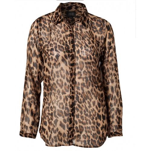 Leopard Printed Pocket Long Sleeve Chiffon Blouse Shirt Tops