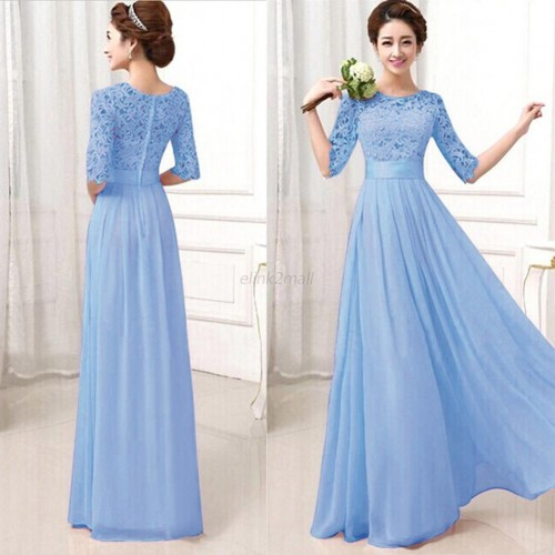 Formal Long Lace Bridesmaid Gown Maxi