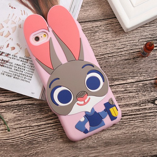 Judy Rabbit Pink 3D Soft Silicone Phone Case Cover for iPhone