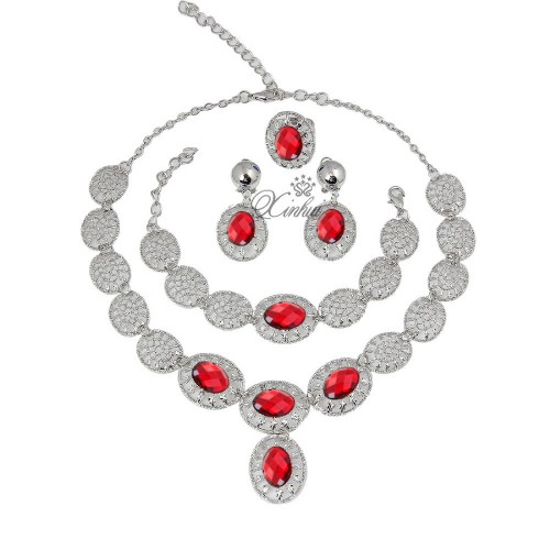 Red Silver african beads jewelry set