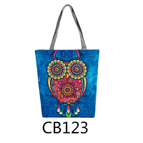 Floral And Owl Printed Women's Casual Tote Female Daily Use Bag