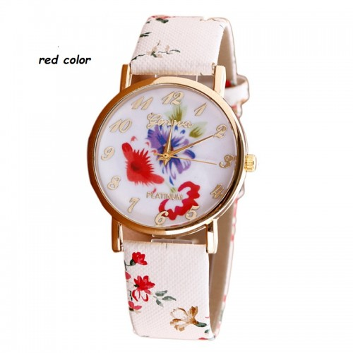 Splendid  Flower Patterns Leather Band Wrist Watch