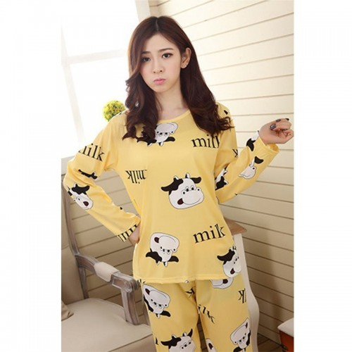 Women Pyjama Suits Indoor Cartoon Printed Sleepwear