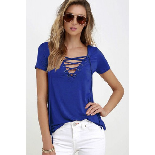 Owlprincess Hollow out Strappy Front Causal Short Sleeve Top Blue