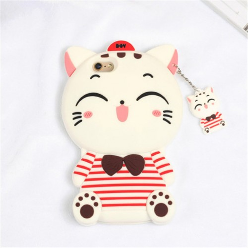 Smile Cat White 3D Soft Silicone Phone Case Cover for iPhone