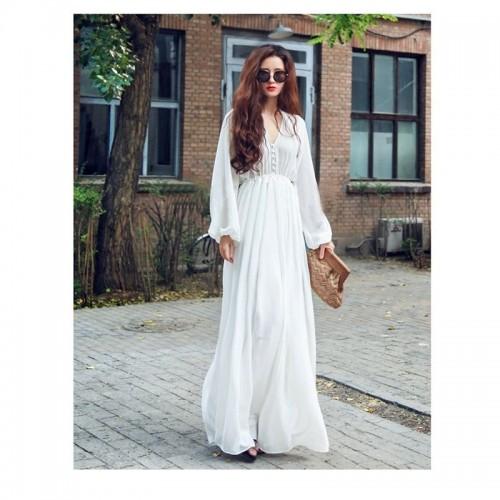 Fashionable White Long Chiffon Maxi Dress