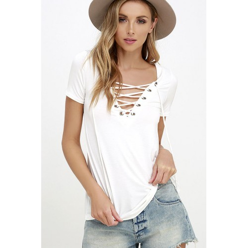 Owlprincess Hollow out Strappy Front Causal Short Sleeve Top White