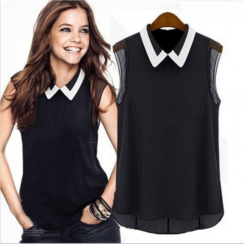 Chiffon Casual Patchwork Tulle Blouse