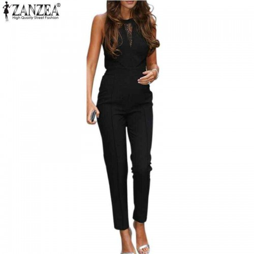 ZANZEA Sleeveless Lace Patchwork Long Pant Jumpsuit