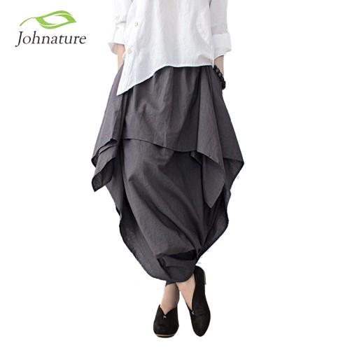Wide Leg Loose Linen Cotton Asymmetric Pants