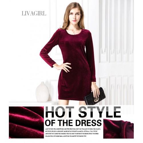 Velvet Slim Package Dress