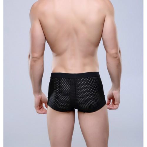 Mens see through boxer underwear Black