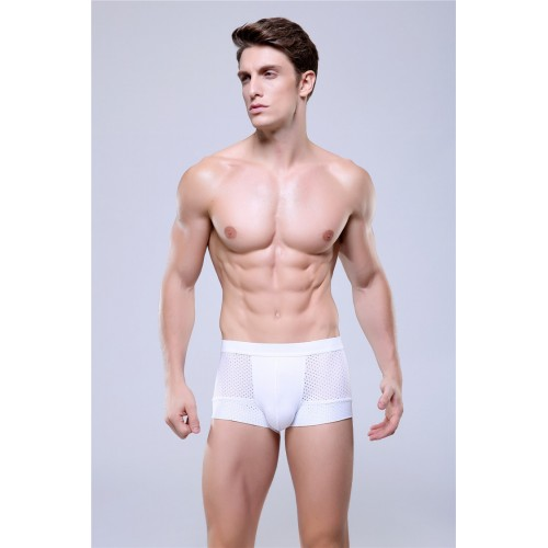 Mens see through boxer underwear White
