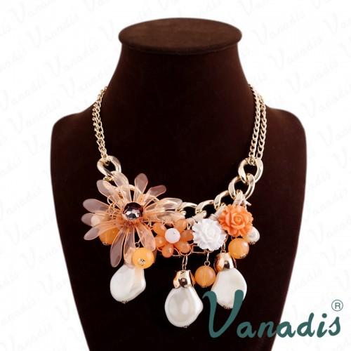 Classical Design Suspension Orange Flower Necklace