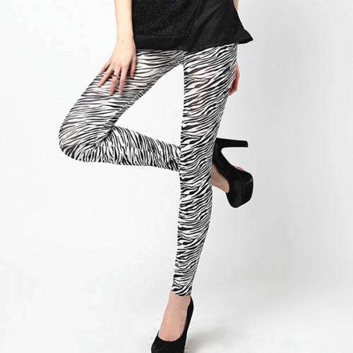 Pencil Pants Leggings Zebra Striped Skinny Stretch