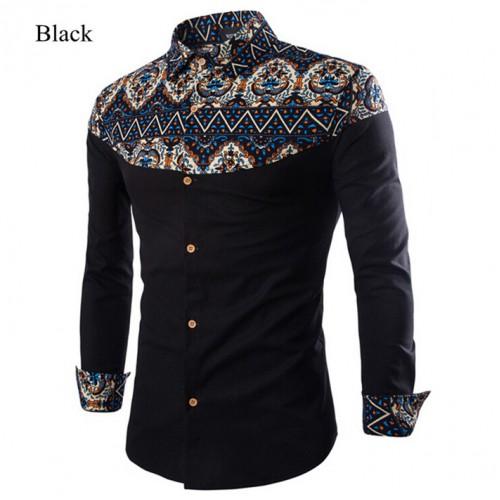 Printed Pattern Linen Turn-Down Collar Shirt