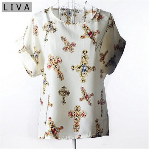 Cross Chiffon Thin Short Sleeve Women Floral Shirt