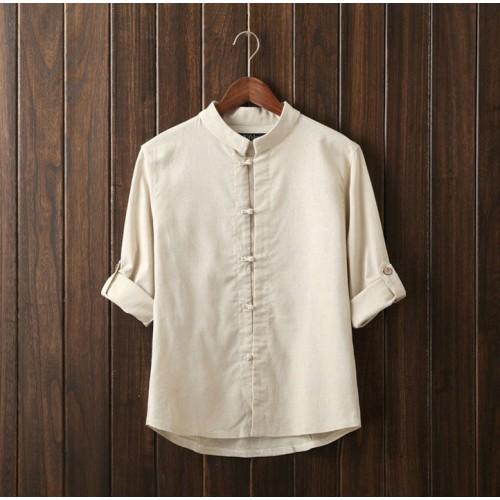 Linen Long Sleeve Mandarin Collar Shirt