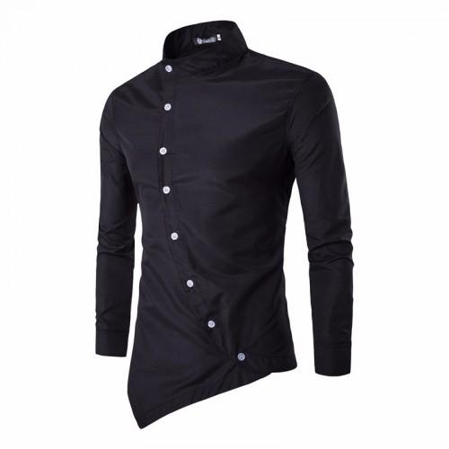 Irregular Button Designed Slim Long Sleeve Shirt