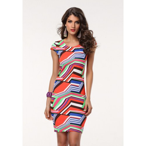 Women Printed Floral Short O-neck Dress(2)