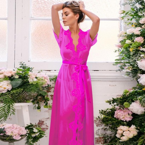 Long Maxi Sleep Dress Summer Lace Nightgown Ladies Sleepwear Nightdress Chiffon Night Gown Wear