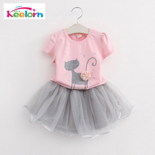 Girls Dress Kids Clothes Cat Pritned Short Sleeve T-Shirt + Veil Dress 2Pcs Baby Girl Clothes for 2-6 Years