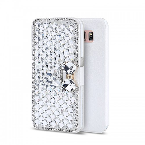 Luxury Bling Bowknot Crystal Rhinestone Diamond Wallet Flip Case Cover For iPhone