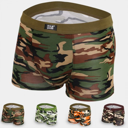 Breathable Mens Boxers Modal Camouflage Elastic Underpants