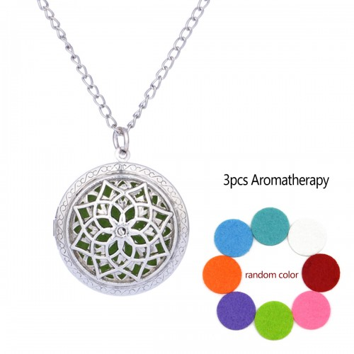 Floral Aromatherapy Locket Necklace Vintage Hollow Diffuser Essential Oil Perfume Locket Pendant Necklace