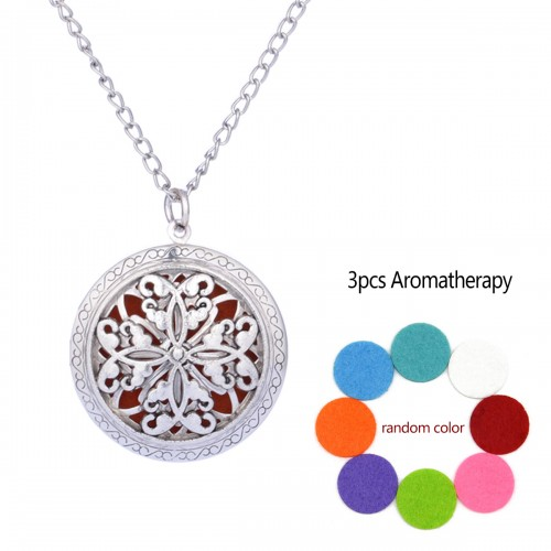 Symmetric Aromatherapy Locket Necklace Vintage Hollow Diffuser Essential Oil Perfume Locket Pendant Necklace
