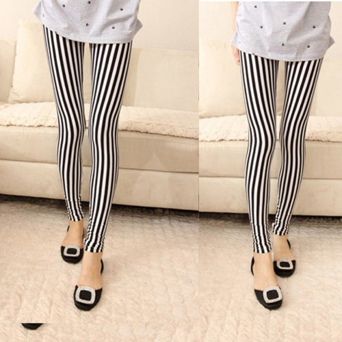 Women Slim Skinny Pencil Pants Striped Printed Leggings