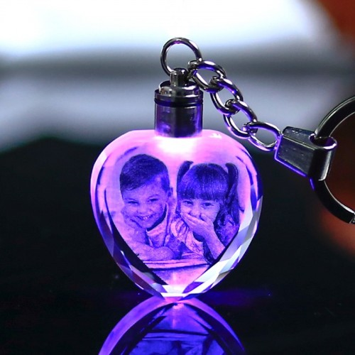 Colorful Crystal Key Chain Photo LED Light Keychain Fashion Luminated Keyring Heart Shaped Glass Picture