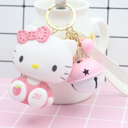 Cute Cartoon Pvc Cat Hello Kitty Doll Keychain Leather Rope Key Holder Metal Bell Key Chain