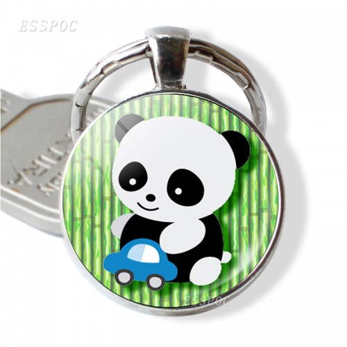 Cute Panda Silver Plated Key Chains Round Glass Dome Pendant Keychain Key Rings Keyring