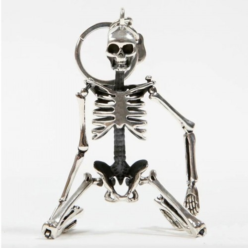 Foldable Skeleton Pendant Key Chain For Men Women Antique Silver Color Metal Alloy Skull Bag Charm