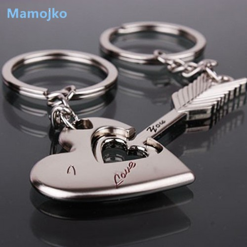 Mamojko Pretty Arrows Love Heart Key Chain For Couple Fashion Key Holder Bag Buckle Accessory Charm