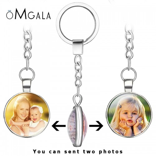 OMGALA DIY Double Side Personalized Custom Keychains Baby Family Lovers Photo Calendar Keyrings Key Chain Rings
