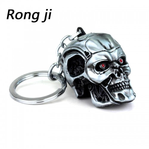 Terminator skull head logo charm Keychain men and women fashion Pendant keyring jewelry car