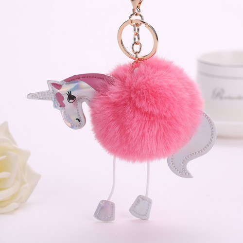 Unicorn pom keychain Artificial pompoms rabbit fur ball pompon key chain women bag car keyring porte