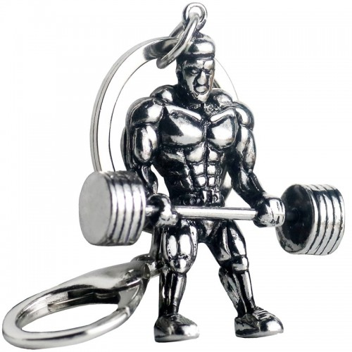 Weightlifting Dumbbell Keychain Strong Man Fitness For Male Car Wallet Dangle Lobster Key Ring