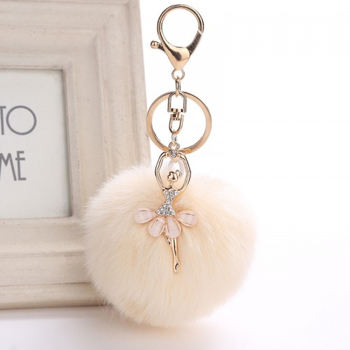 ZOEBER Fake Rabbit Fur Ball KeyChain Pompom Key Chain Pom Pom Key Rings Ballet Angel Girl
