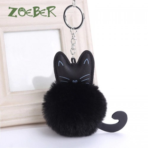 ZOEBR Car Keyring Snow Fur Key Holder Rabbit Fur Ball Key Chain Black Cat Head Doll