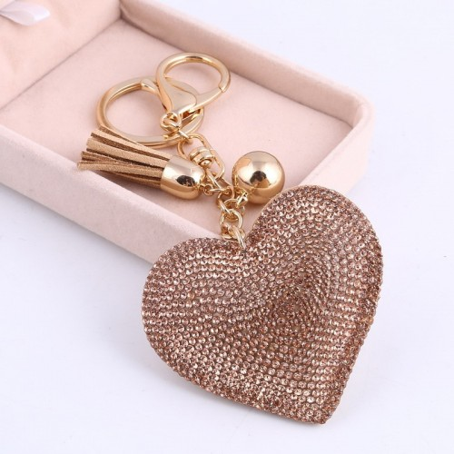 ZOSH Heart Keychain Leather Tassel Gold Key Holder Metal Crystal Key Chain Keyring Charm Bag Auto