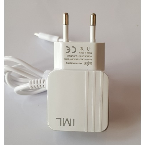 Fast Auto ID Dual USB 2.4A Travel Charger