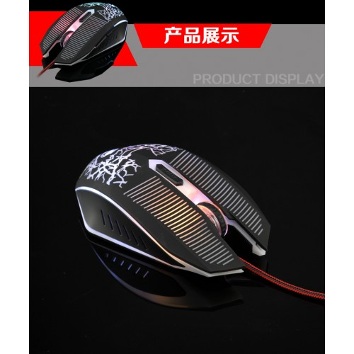 LIMEIDE V6 Wrangler Wired Gaming Mouse Computer Photoelectric USB RGB Lights Mouse