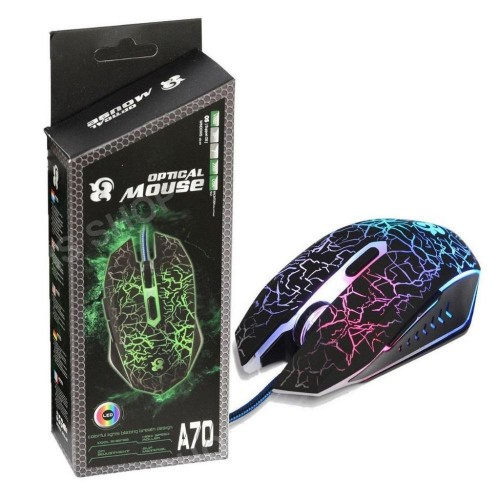 Optical Wired A70 Gaming RGB LIghts Mouse With 6 Buttons HIgh Dpi